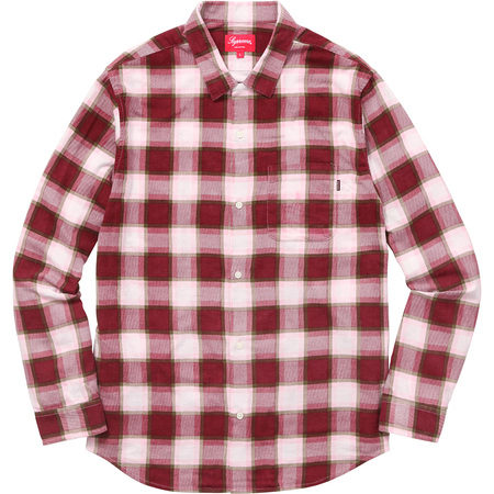 Printed Plaid Flannel Shirt (Pink)