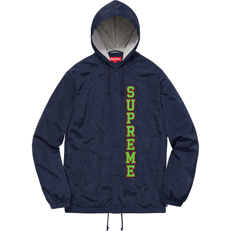 Vertical Logo Hooded Coaches Jacket (Navy)