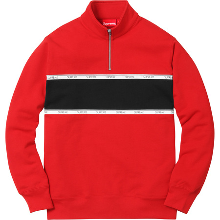 Logo Tape Stripe Half Zip Sweat (Red)