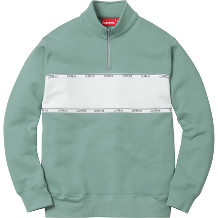 Logo Tape Stripe Half Zip Sweat (Seafoam)