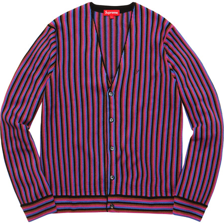 Micro Stripe Cardigan (Magenta)