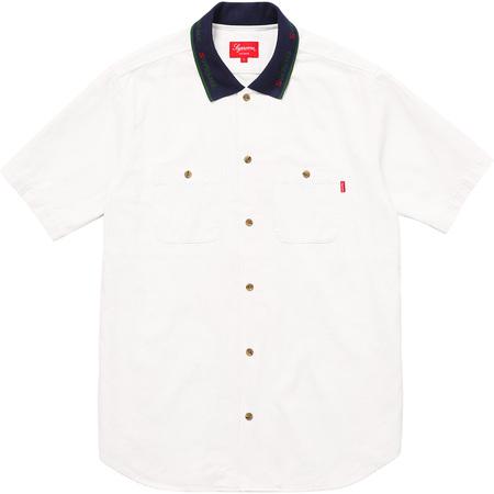 Rib Collar S/S Denim Shirt (Natural)
