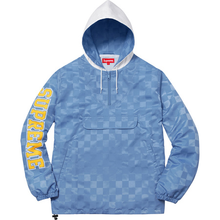 Checkered Nylon Hooded Pullover (Light Blue)