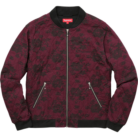 Quilted Lace Bomber Jacket (Burgundy)