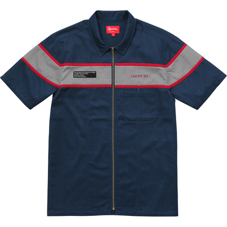 S/S Zip Up Work Shirt (Navy)