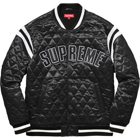 Quilted Satin Varsity Jacket (Black)