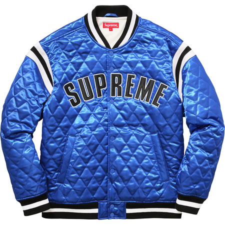Quilted Satin Varsity Jacket (Royal)