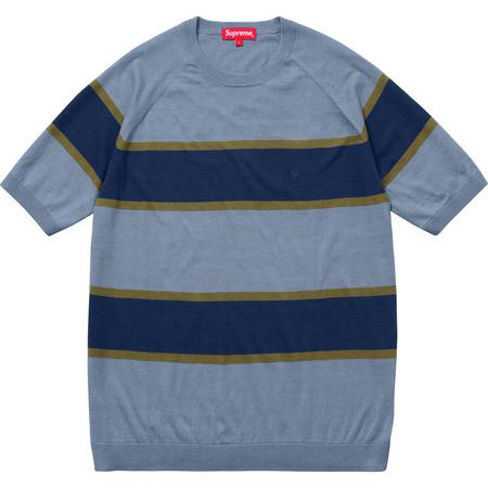 Knit Stripe S/S Raglan Top (Slate)