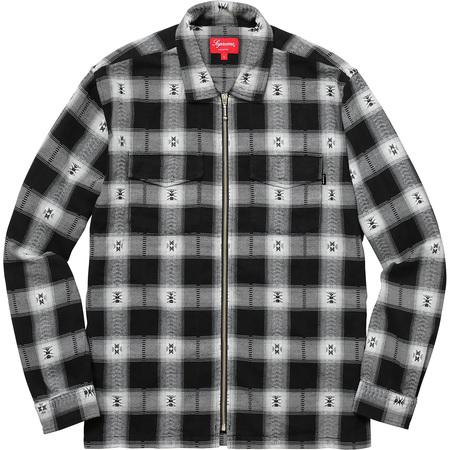 Plaid Flannel Zip Up Shirt (Black)
