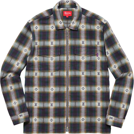Plaid Flannel Zip Up Shirt (Navy)