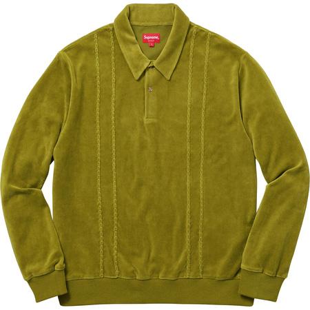 Velour L/S Polo (Pea Green)