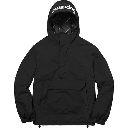 Hooded Logo Half Zip Pullover (Black)