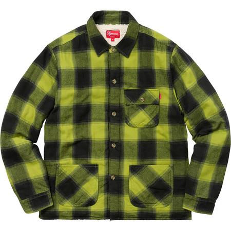 Buffalo Plaid Sherpa Lined Chore Shirt (Pea Green)