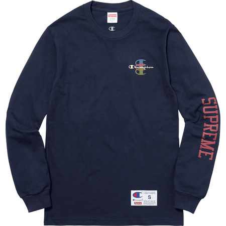 Supreme®/Champion® Stacked C L/S Tee (Navy)