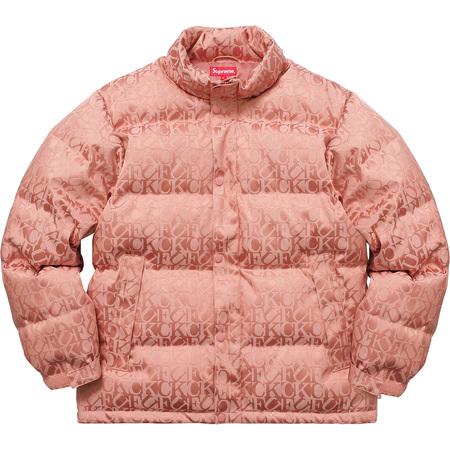 Fuck Jacquard Puffy Jacket (Pink)