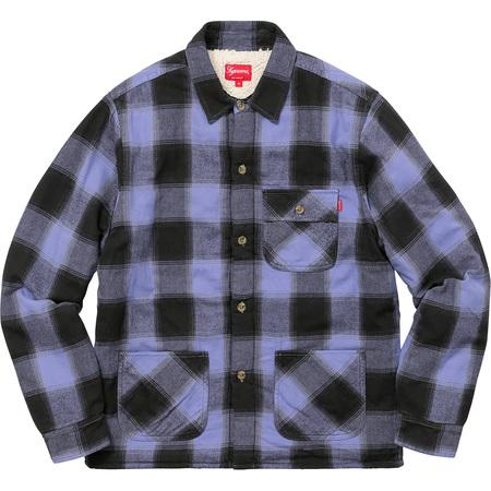 Buffalo Plaid Sherpa Lined Chore Shirt (Light Blue)