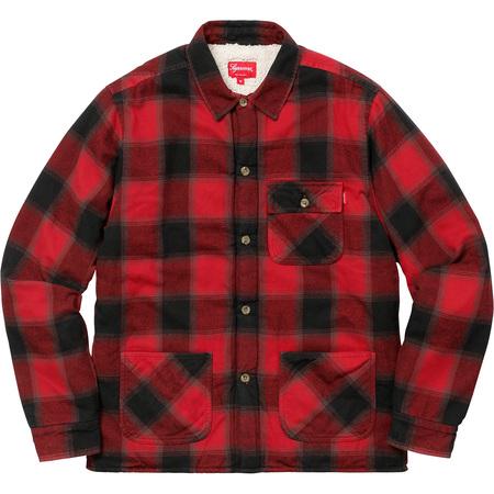Buffalo Plaid Sherpa Lined Chore Shirt (Red)