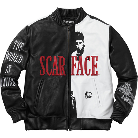 Scarface Embroidered Leather Jacket (Black)