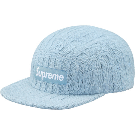 Fitted Cable Knit Camp Cap (Light Blue)