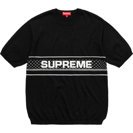 Chest Logo S/S Knit Top (Black)