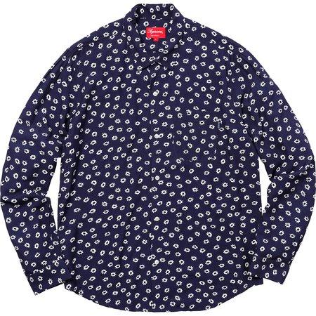 Flowers L/S Rayon Shirt (Light Navy)
