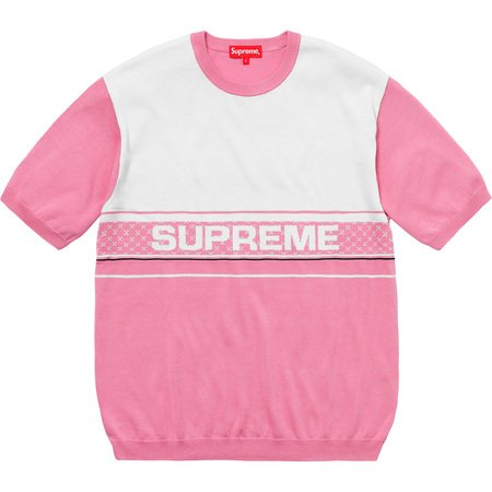 Chest Logo S/S Knit Top (Pink)