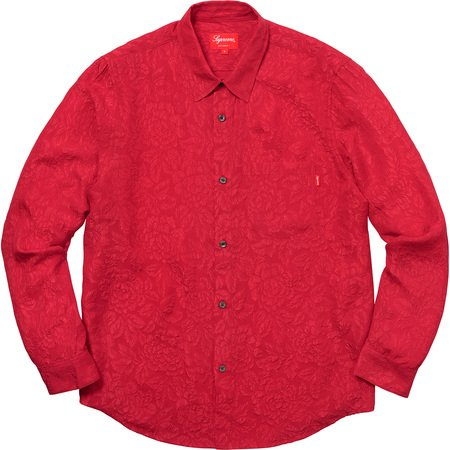 Floral Silk Jacquard Shirt (Red)