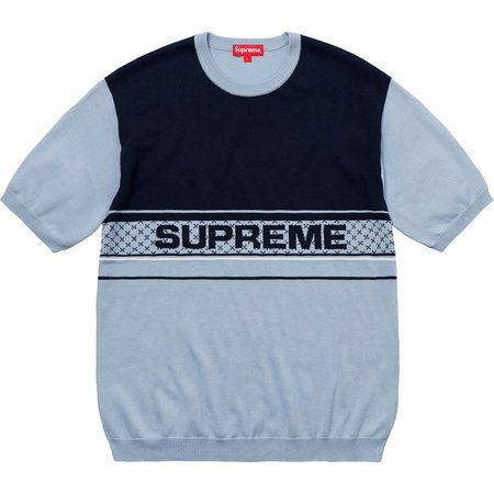 Chest Logo S/S Knit Top (Light Blue)