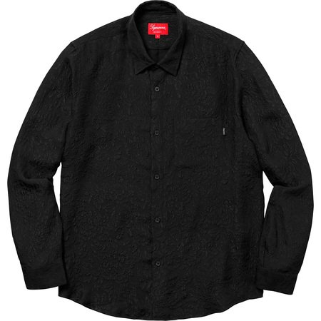 Floral Silk Jacquard Shirt (Black)
