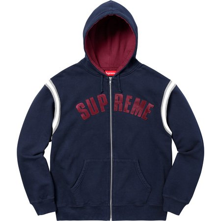 Jet Sleeve Zip Up Hooded Sweatshirt (Navy)