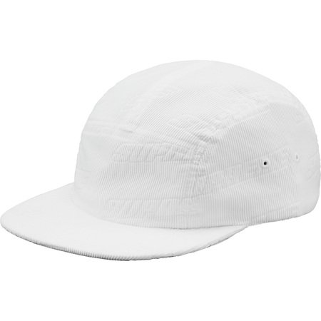 Debossed Corduroy Camp Cap (White)