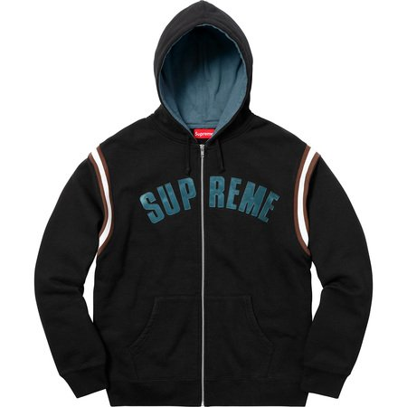 Jet Sleeve Zip Up Hooded Sweatshirt (Black)