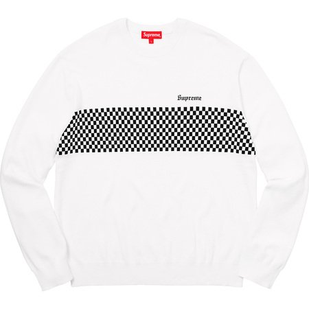 Checkered Panel Crewneck Sweater (White)