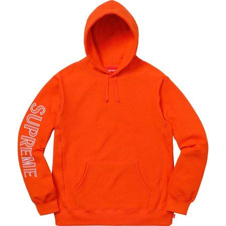 Sleeve Embroidery Hooded Sweatshirt (Dark Orange)