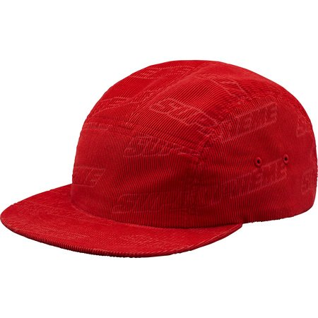 Debossed Corduroy Camp Cap (Red)
