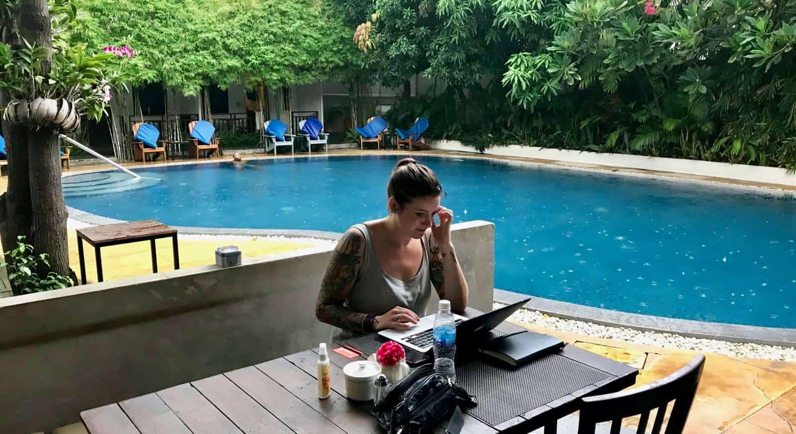 Hannah betternotstop poolside Phnom Penh Cambodia