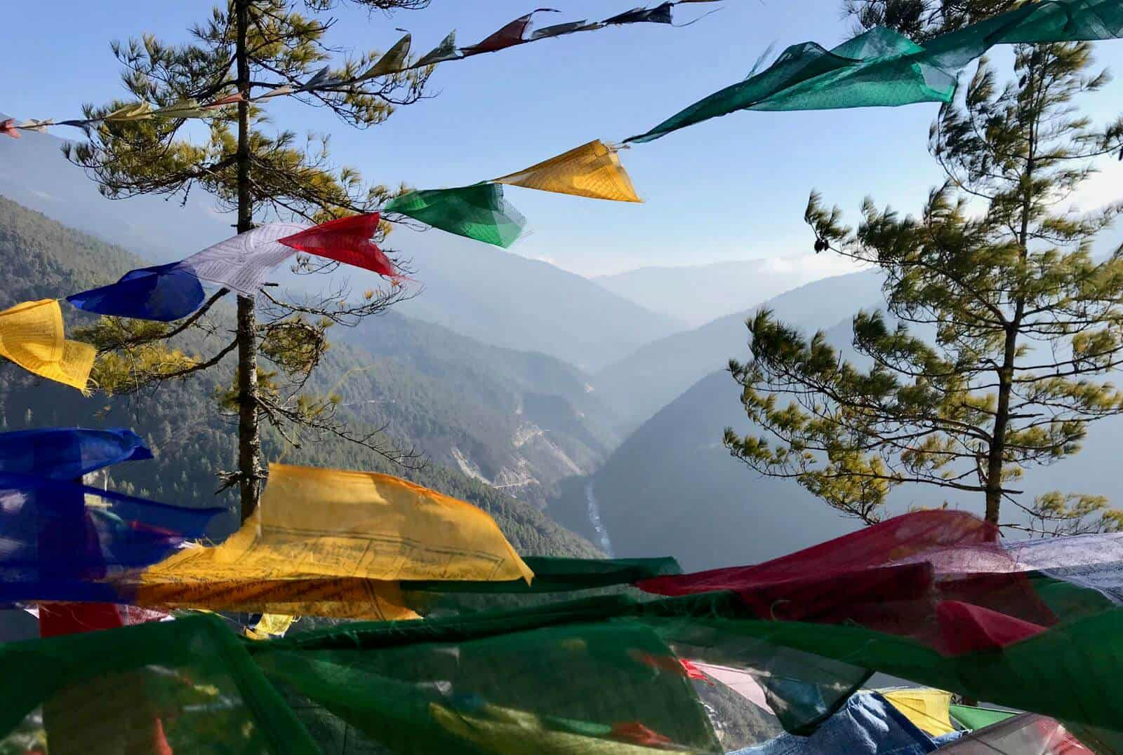 Valley prayer flags betternotstop road to happiness