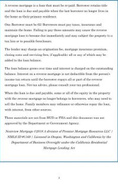 Reverse Mortgage info