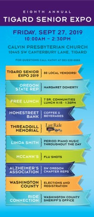 Tigard Senior Expo infographic blue, orange, green