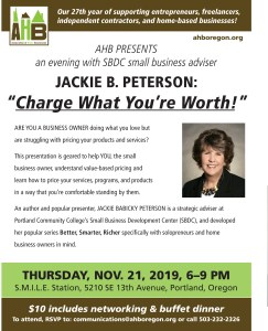 """Charge What You're Worth"" November 21, Association of Home Based Business @ S.M.I.L.E."