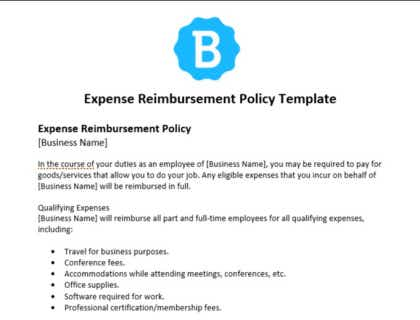 Customize this employee performance review policy template to your company's needs and use it as a starting point for writing your employee handbook. Expense Reimbursement Policy