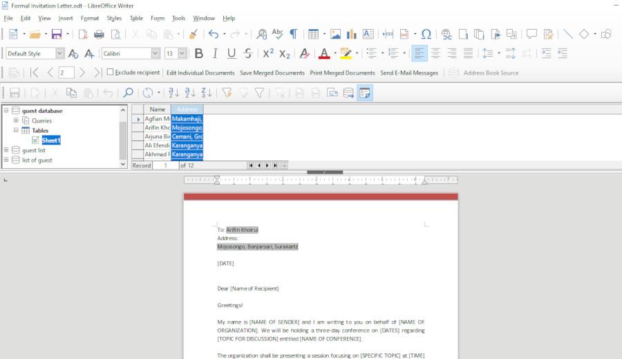 mail merge on libreoffice writer