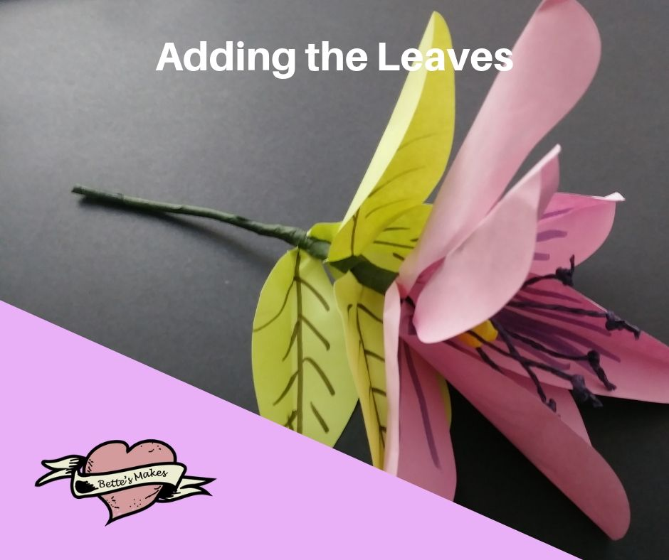 DIY Paper Flower Lily - Adding the Leaves - BettesMakes.com