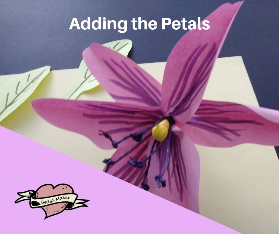 DIY Paper Flower Lily - Adding the Petals - BettesMakes.com