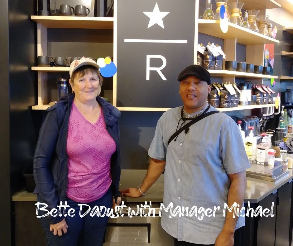 Starbucks Store Manager Michael with Dr. Bette Daoust