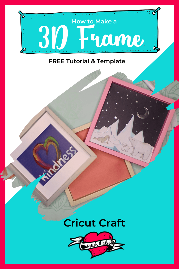 Imagine making your own 3D frames to hang up your artwork - no expensive framing, just plain creativity! Have fun with these frames, adjust the sizes, and the colors! Free template and Tutorial! #cricut #cricutcraft #papercraft #artframe
