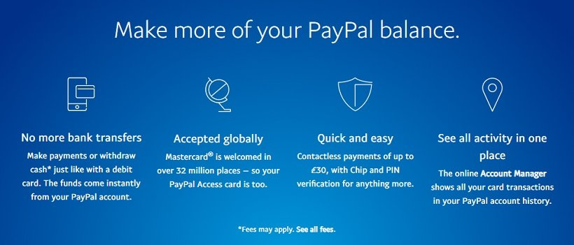 PayPal Access card Fees Limits