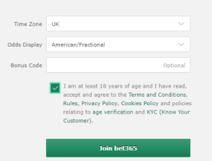 Bet365 bonus code putting location during sign up