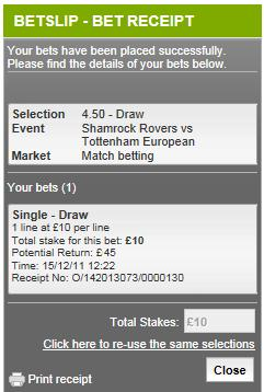 Betting Promotion Codes help - bet placed confirmation