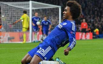 Chelsea's Brazilian midfielder Willian celebrates after scoring from a free kick during a UEFA Chamions league group stage football match between Chelsea and Dynamo Kiev at Stamford Bridge stadium in west London on November 4, 2015. AFP PHOTO / GLYN KIRKGLYN KIRK/AFP/Getty Images